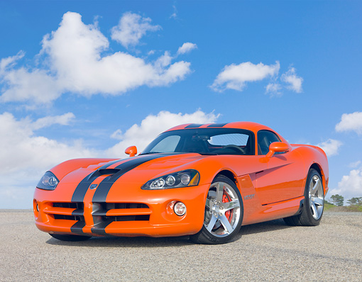 VIP 01 RK0315 01 © Kimball Stock 2010 Dodge Viper SRT/10 Coupe Orange With Black Stripe 3/4 Front View On Pavement