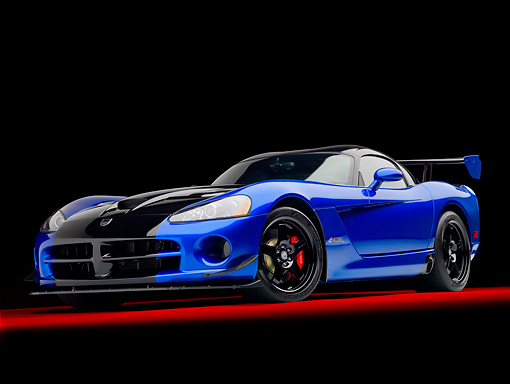 VIP 01 RK0318 01 © Kimball Stock 2010 Dodge Viper ACR Blue With Black Stripe 3/4 Front View In Studio