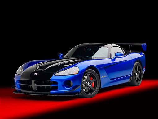 VIP 01 RK0319 01 © Kimball Stock 2010 Dodge Viper ACR Blue With Black Stripe 3/4 Front View In Studio