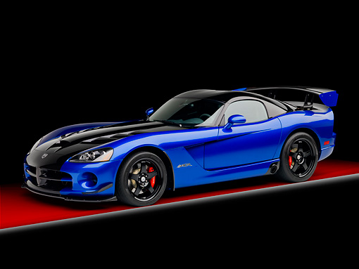 VIP 01 RK0320 01 © Kimball Stock 2010 Dodge Viper ACR Blue With Black Stripe 3/4 Side View In Studio