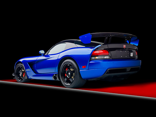 VIP 01 RK0321 01 © Kimball Stock 2010 Dodge Viper ACR Blue With Black Stripe 3/4 Rear View In Studio