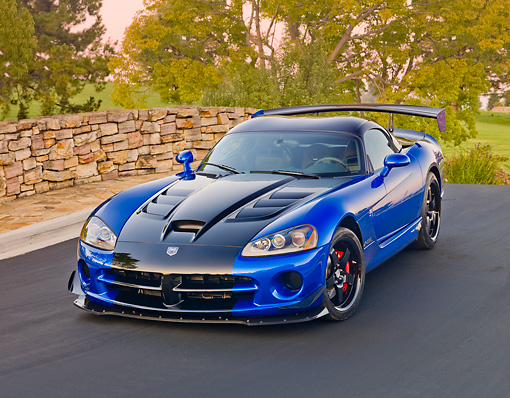 VIP 01 RK0325 01 © Kimball Stock 2010 Dodge Viper ACR Blue With Black Stripe 3/4 Front View On Pavement By Stone Wall And Trees