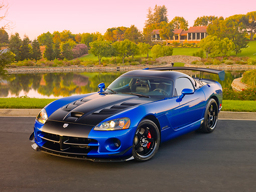 VIP 01 RK0327 01 © Kimball Stock 2010 Dodge Viper ACR Blue With Black Stripe 3/4 Front View On Pavement By Pond And Trees