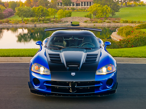 VIP 01 RK0330 01 © Kimball Stock 2010 Dodge Viper ACR Blue With Black Stripe Front View On Pavement By Pond And Trees