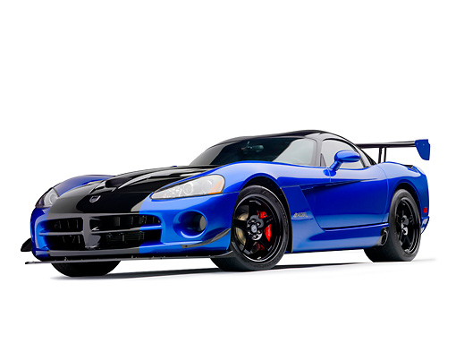 VIP 01 RK0334 01 © Kimball Stock 2010 Dodge Viper ACR Blue With Black Stripe 3/4 Front View On White Seamless