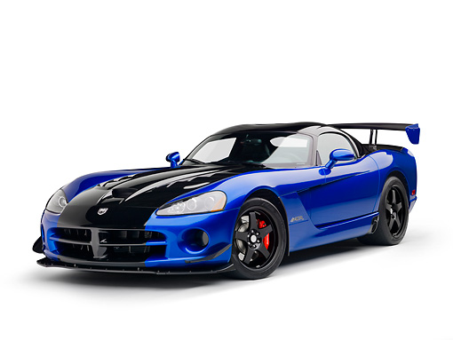 VIP 01 RK0335 01 © Kimball Stock 2010 Dodge Viper ACR Blue With Black Stripe 3/4 Front View On White Seamless