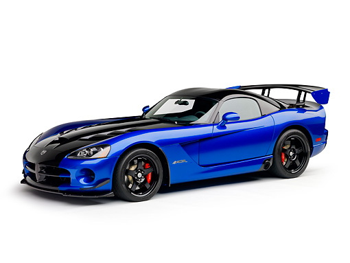 VIP 01 RK0336 01 © Kimball Stock 2010 Dodge Viper ACR Blue With Black Stripe 3/4 Side View On White Seamless
