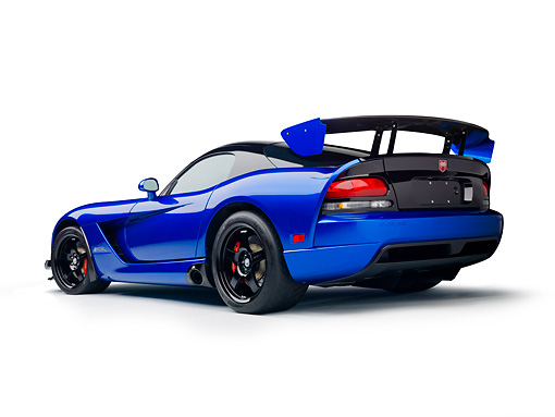 VIP 01 RK0337 01 © Kimball Stock 2010 Dodge Viper ACR Blue With Black Stripe 3/4 Rear View On White Seamless