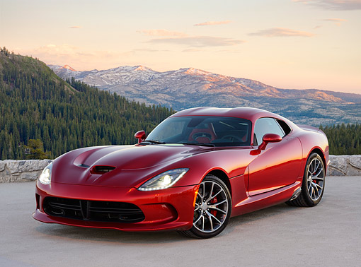 VIP 01 RK0340 01 © Kimball Stock 2014 SRT Viper GTS Red 3/4 Front View On Pavement In Mountains At Sunrise