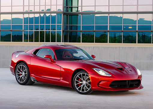 VIP 01 RK0342 01 © Kimball Stock 2014 SRT Viper GTS Red 3/4 Front View On Concrete By Glass Building