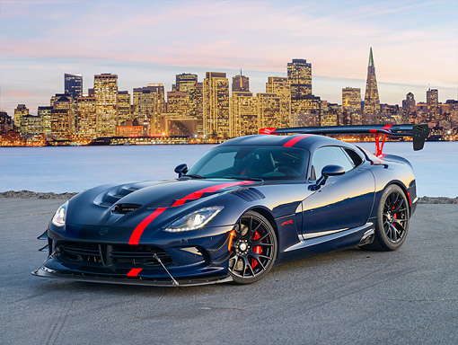 VIP 01 RK0351 01 © Kimball Stock 2016 Dodge Viper ACR Blue 3/4 Front View On Pavement In City