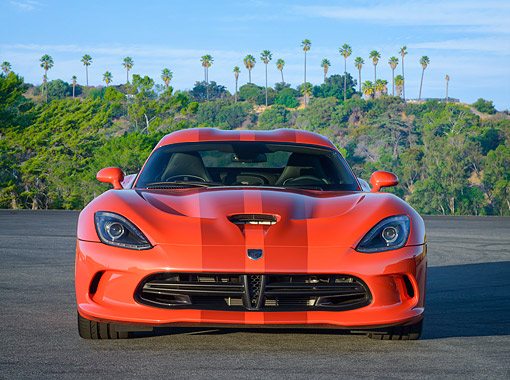 VIP 01 RK0353 01 © Kimball Stock 2016 Dodge Viper GT Orange Front View By Hills With Palm Trees