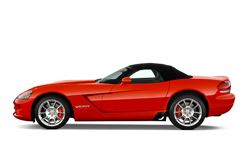 VIP 01 IZ0001 01 © Kimball Stock 2008 Dodge Viper SRT/10 Roadster Red Profile View Studio