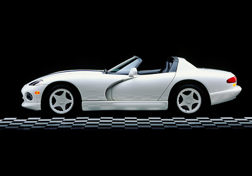 VIP 01 RK0077 03 © Kimball Stock 1996 Dodge Viper RT/10 Roadster White Blue Stripe Profile View Studio