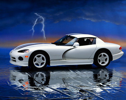 VIP 01 RK0080 05 © Kimball Stock 1996 Dodge Viper RT/10 Roadster White Black Stripe Side 3/4 View Studio