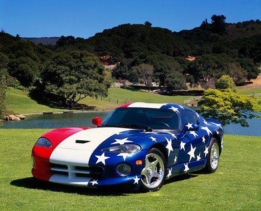 VIP 01 RK0155 08 © Kimball Stock 1997 Dodge Viper Patriotic Front 3/4 View On Grass By Pond Trees Hills