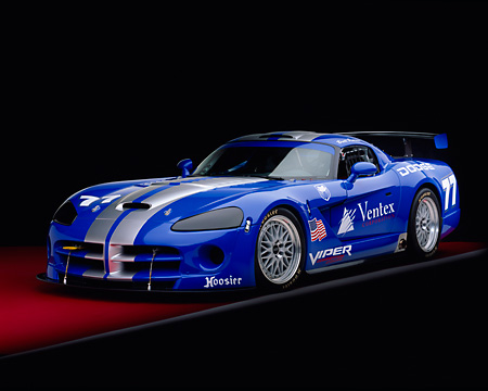 VIP 01 RK0190 01 © Kimball Stock 2003 Dodge Viper Competition Coupe Blue With Silver Stripe