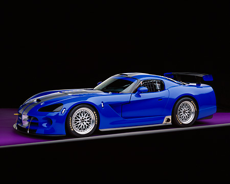 VIP 01 RK0191 03 © Kimball Stock 2003 Dodge Viper Competition Coupe Blue Silver Stripe