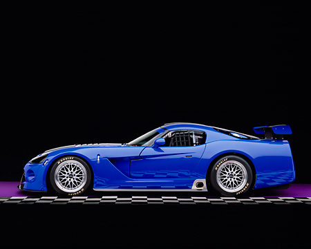 VIP 01 RK0193 06 © Kimball Stock 2003 Dodge Viper Competition Coupe Blue Silver Stripe