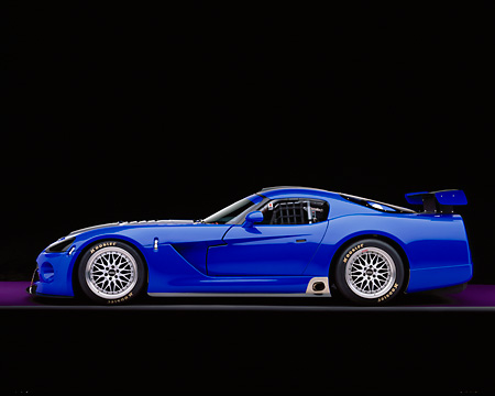 VIP 01 RK0194 05 © Kimball Stock 2003 Dodge Viper Competition Coupe Blue Silver Stripe
