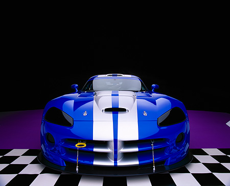 VIP 01 RK0197 07 © Kimball Stock 2003 Dodge Viper Competition Coupe Blue Silver Stripe Wide Angle Head On Purple Checkered