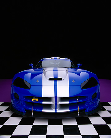 VIP 01 RK0197 20 © Kimball Stock 2003 Dodge Viper Competition Coupe Blue Silver Stripe Wide Angle Head On Purple Checkered