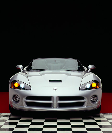 VIP 01 RK0213 01 © Kimball Stock 2005 Dodge Viper Convertible Silver Head On Shot On Checkered Floor Studio