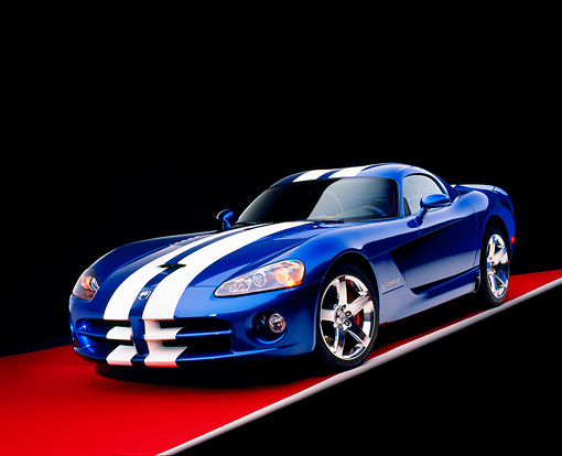 VIP 01 RK0239 07 © Kimball Stock 2006 Dodge Viper SRT/10 Blue With White Stripes 3/4 Front View Studio