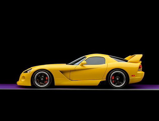 VIP 01 RK0243 02 © Kimball Stock 2006 Hennessey Venom 800R Yellow Profile View Studio