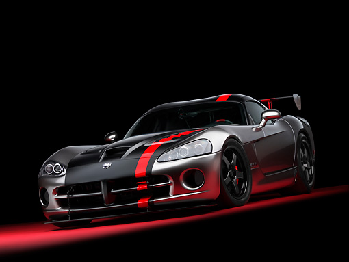 VIP 01 RK0266 01 © Kimball Stock Dodge Viper SRT/10 Concept Mopar Gray And Black Low 3/4 Front View On Red Floor Studio