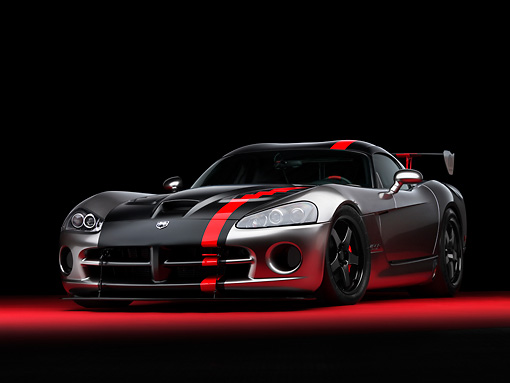 VIP 01 RK0267 01 © Kimball Stock Dodge Viper SRT/10 Concept Mopar Gray And Black Low 3/4 Front View On Red Floor Studio