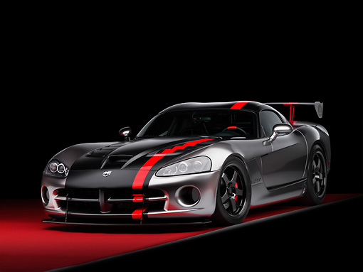 VIP 01 RK0268 01 © Kimball Stock Dodge Viper SRT-10 Concept Mopar Gray And Black 3/4 Front View On Red Floor Studio