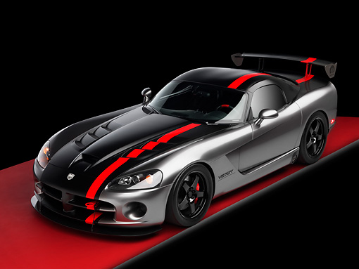 VIP 01 RK0269 01 © Kimball Stock Dodge Viper SRT/10 Concept Mopar Gray And Black Overhead 3/4 Front View On Red Floor Studio
