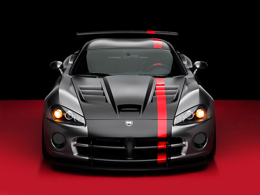 VIP 01 RK0271 02 © Kimball Stock Dodge Viper SRT/10 Concept Mopar Gray And Black Head On View On Red Floor Studio
