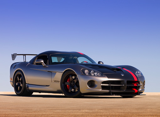 VIP 01 RK0281 01 © Kimball Stock Dodge Viper SRT-10 Concept Mopar Gray And Black Low 3/4 Side View On Pavement
