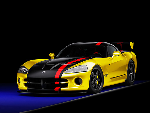 VIP 01 RK0289 01 © Kimball Stock Dodge Viper SRT-10 Mopar Yellow And Black 3/4 Front View Studio