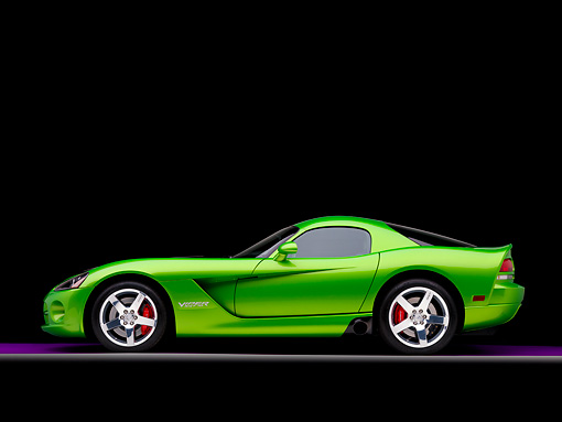 VIP 01 RK0290 01 © Kimball Stock 2008 Dodge Viper SRT/10 Coupe Green With Black Stripes Profile View Studio