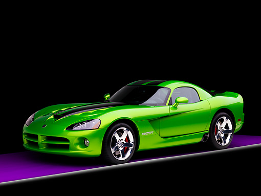 VIP 01 RK0291 01 © Kimball Stock 2008 Dodge Viper SRT/10 Coupe Green With Black Stripes 3/4 Front View Studio