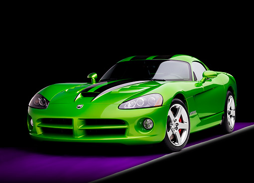 VIP 01 RK0292 01 © Kimball Stock 2008 Dodge Viper SRT/10 Coupe Green With Black Stripes 3/4 Front View Studio