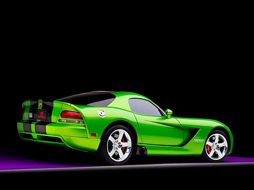 VIP 01 RK0296 01 © Kimball Stock 2008 Dodge Viper SRT/10 Coupe Green With Black Stripes 3/4 Rear View Studio