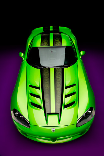 VIP 01 RK0300 02 © Kimball Stock 2008 Dodge Viper SRT/10 Coupe Green With Black Stripes Head On View Studio