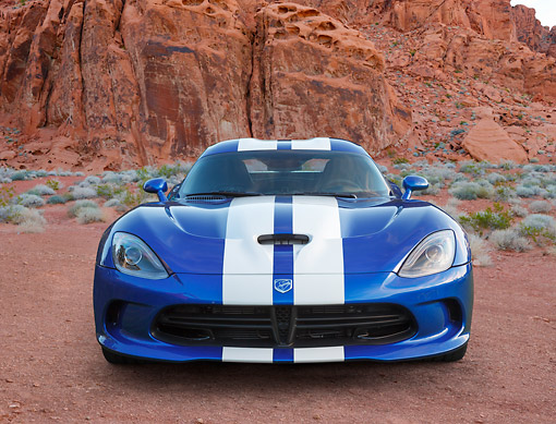 VIP 02 BK0001 01 © Kimball Stock 2013 SRT Viper GTS Blue With White Stripes Front View On Dirt In Desert
