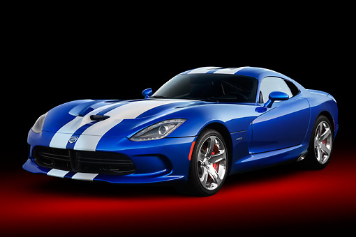 VIP 02 BK0004 01 © Kimball Stock 2013 SRT Viper GTS Blue With White Stripes 3/4 Front View In Studio