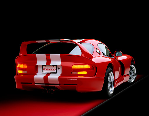 VIP 02 RK0061 05 © Kimball Stock 1997 Dodge Hennessey Viper Venom 600 GTS Red White Stripes 3/4 Rear View On Red Floor Studio
