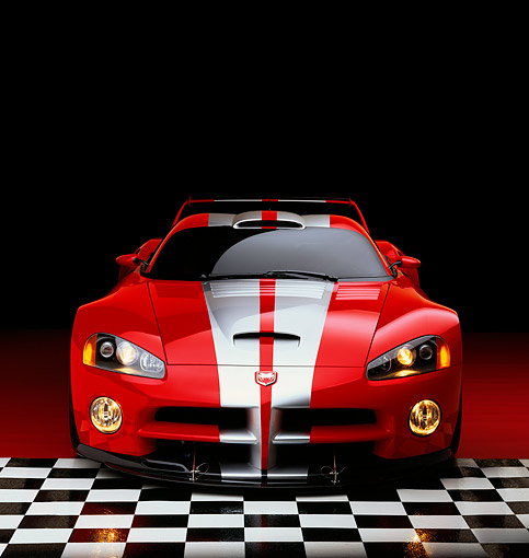 VIP 02 RK0120 01 © Kimball Stock Dodge Viper GTSR Concept Car Red Silver Stripe Head On Shot On Checkered Floor Studio