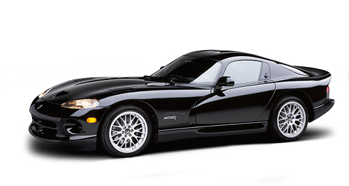 1999 Dodge Viper Gts Acr Black 34 Side View On White Seamless