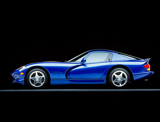 VIP 02 RK0002 06 © Kimball Stock 1996 Dodge Viper GTS Coupe Blue Profile View Studio