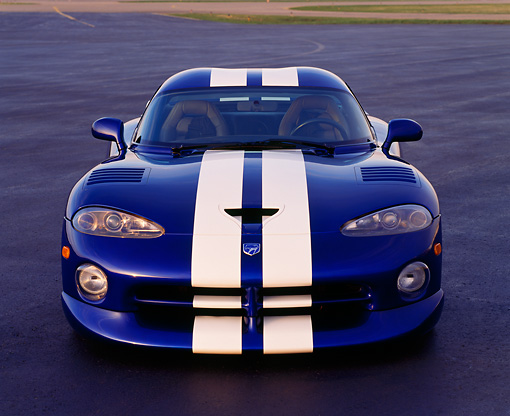 VIP 02 RK0054 19 © Kimball Stock Dodge Viper GTS Concept Car Blue White Stripe Head On Shot On Pavement