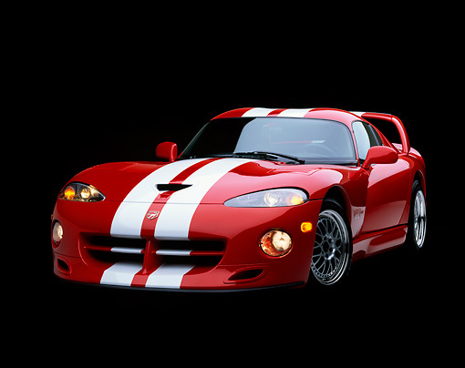 VIP 02 RK0057 02 © Kimball Stock 1997 Dodge Hennessey Viper Venom 600 GTS Red White Stripes 3/4 Front View Studio