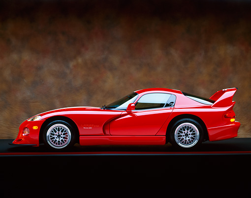 VIP 02 RK0062 05 © Kimball Stock 1997 Dodge Hennessey Viper Venom 600 GTS Red White Stripes Profile Marble Background Studio